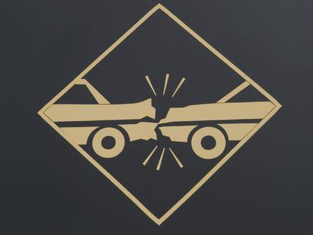 Verkeersbord Pas op voor een botsing