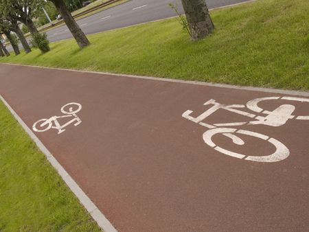 Scenic cycle track in Gdansk Stock Photo