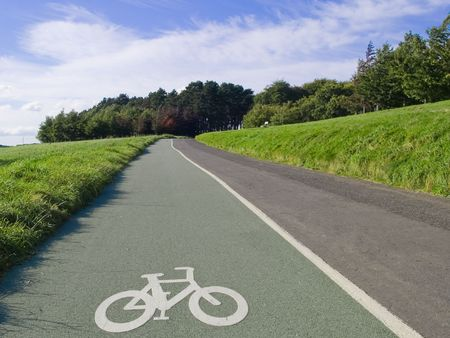healthy path: Scenic cycle track in Phoenix Park in Dublin