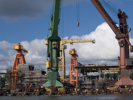shipbuilder: Hull during construction works Stock Photo