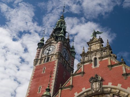 Historic exterior of railway station in Gdansk, Poland photo