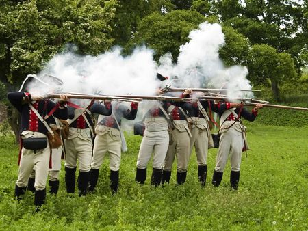 Soldiers from Napoleonic Wars firing a valley Stock Photo