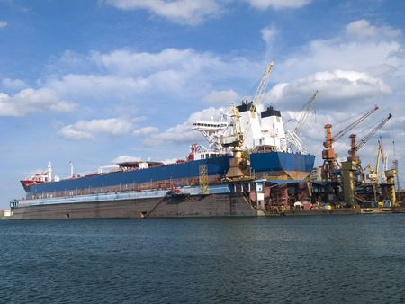 shiprepair: An old ship in a repair shipyard Stock Photo