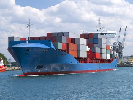 MARITIME: Huge container cargo ship heading for port
