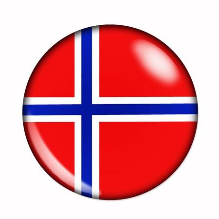 Rond, buttonised vlag van Noorwegen voeren Stockfoto