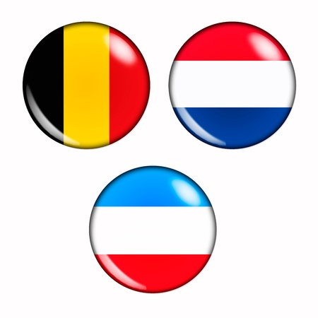benelux: Circular, buttonised flag of Benelux Countries Stock Photo