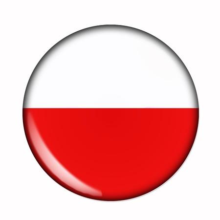 bandera de polonia: Bandera de la Circular, buttonised de Polonia Foto de archivo