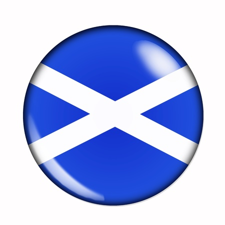 Circular,  buttonised flag of Scotland
