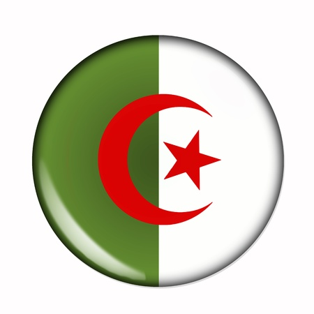 Circular,  buttonised flag of Algeria photo