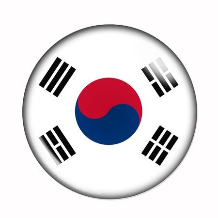 korea flag: Circular,  buttonised flag of South Korea