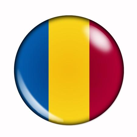 romania flag: Circular, buttonised flag of Romania