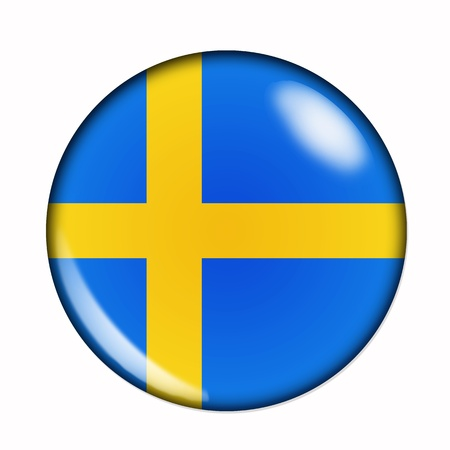 Circular,  buttonised flag of Sweden Stock Photo - 13179330