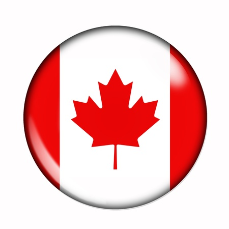 rounded circular: Circular,  buttonised flag of Canada Stock Photo