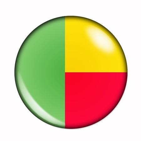 Circular,  buttonised flag of Benin photo