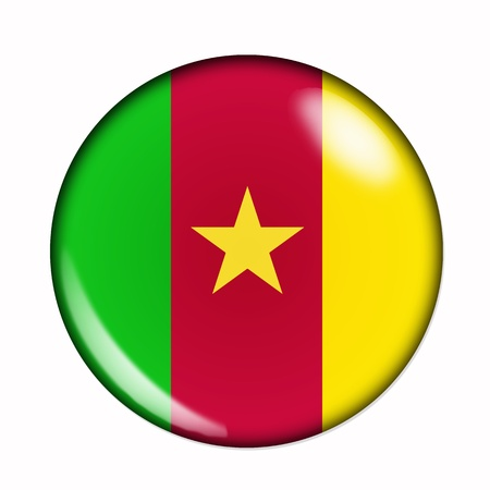 cameroon: Circular,  buttonised flag of Cameroon