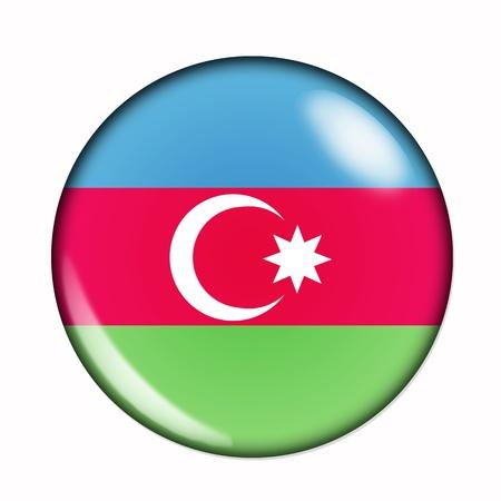 azerbaijan: An isolated circular,  buttonised flag of Azerbaijan Stock Photo