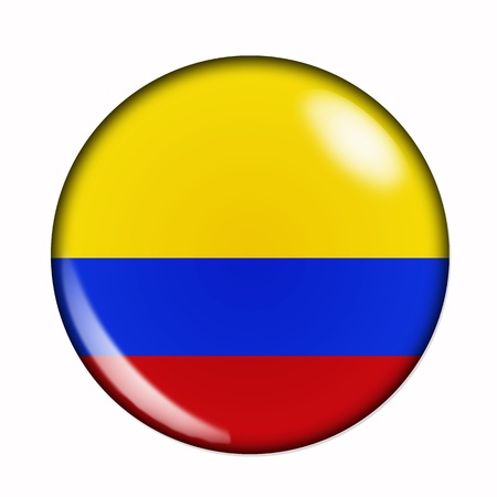 An isolated circular flag of Colombia Stock Photo