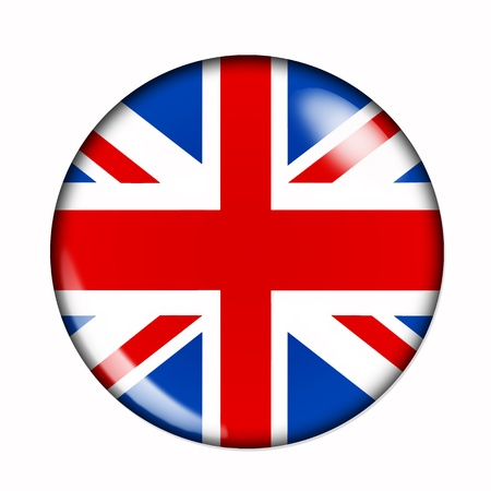 An isolated circular,  buttonised flag of Great Britain Stock Photo