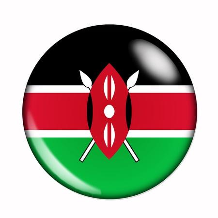 kenya: An isolated circular,  buttonised flag of Kenya Stock Photo