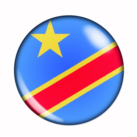 republic of the congo: Circular,  buttonised flag of Democratic Republic of the Congo Stock Photo