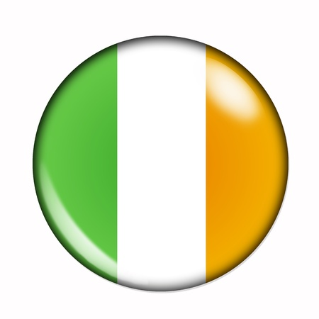 eire: Circular,  buttonised flag of Ireland Stock Photo