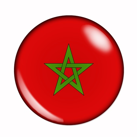 An isolated circular, buttonised flag of Morocco Stock Photo