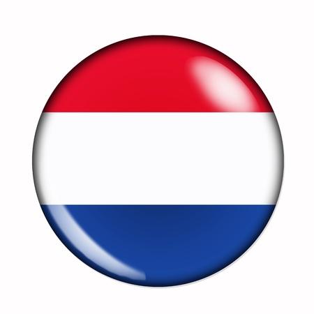 drapeau hollande: Circulaire, drapeau de la Hollande buttonised Banque d'images