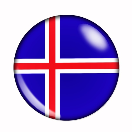 iceland: Circular,  buttonised flag of Iceland
