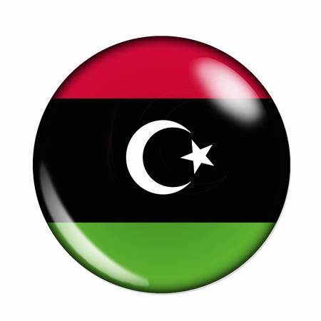 libyan: Circular,  buttonised flag of Libya Stock Photo