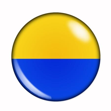 Rond, buttonised vlag van Oekraïne Stockfoto