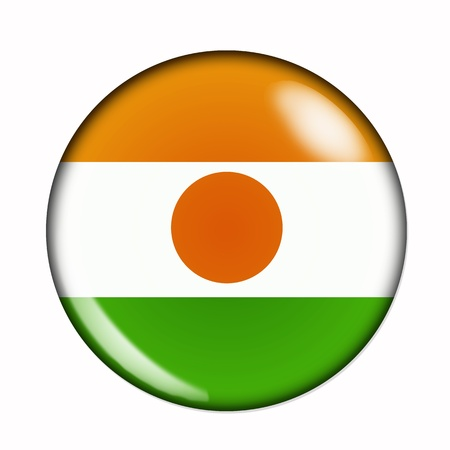 niger: An isolated circular, buttonised flag of Niger