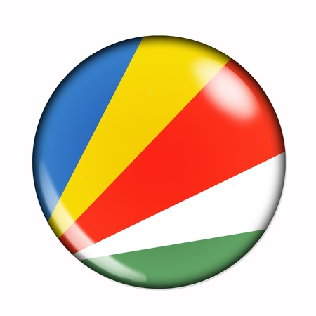seychelles: An isolated circular, buttonised flag of Saychelles Stock Photo