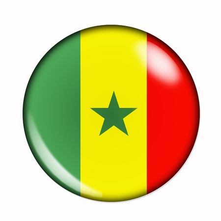 senegal: An isolated circular, buttonised flag of Senegal