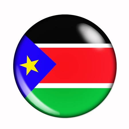 aring: An isolated circular, buttonised flag of South Sudan Stock Photo