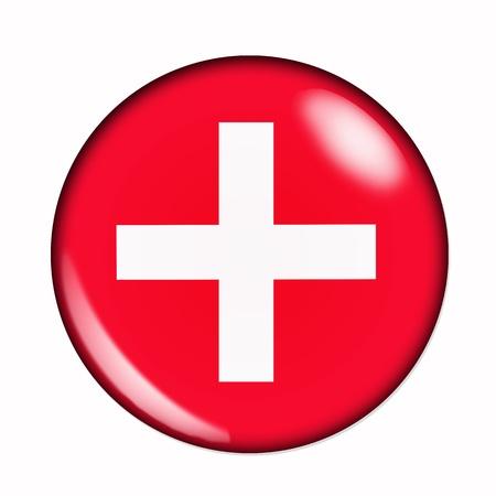 Rond, buttonised vlag van Zwitserland