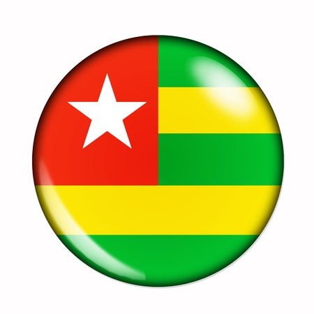 togo: An isolated circular, buttonised flag of Togo
