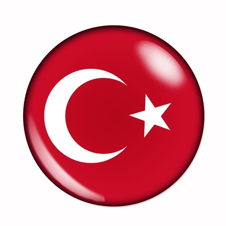 Circular,  buttonised flag of Turkey photo