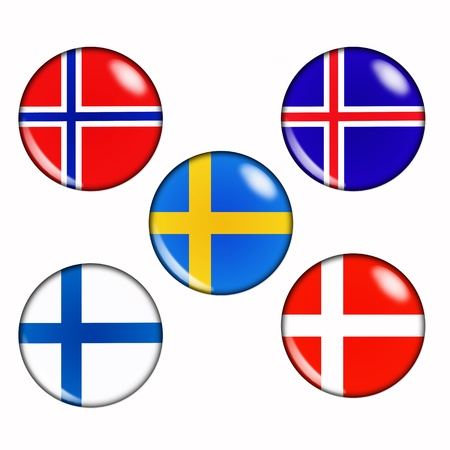 Button flags of scandinavian countries photo