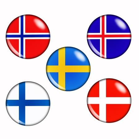 Button vlaggen van de Scandinavische landen