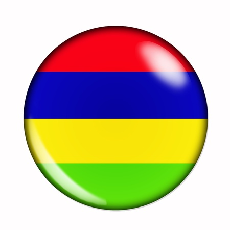 mauritius: An isolated circular,  buttonised flag of Mauritius Stock Photo