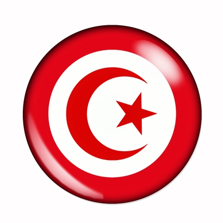 Circular,  buttonised flag of Tunisia photo