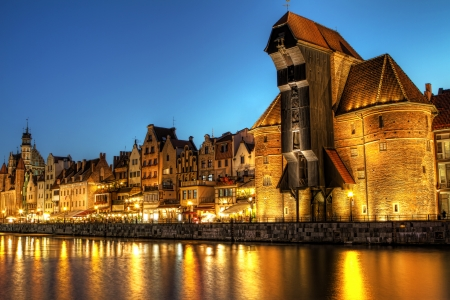 amber light: City center of Gdansk at night, Poland Stock Photo