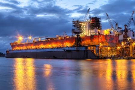 shiprepair: Shipyard at night
