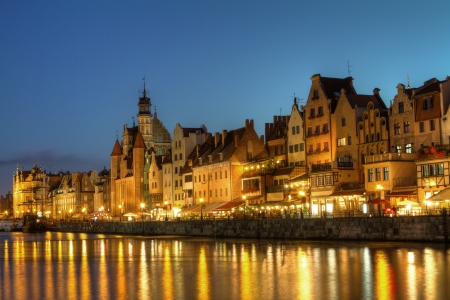 City center of Gdansk at night, Poland photo