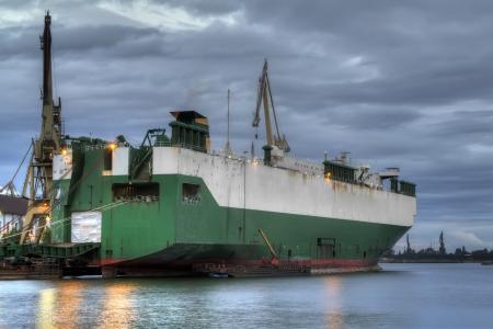 shipway: An old ship during hull repair