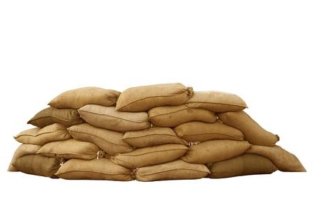 flood damage: Isolated sandbags for flood defense or military use