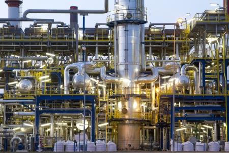 Een petrochemische industriële installaties. Stockfoto