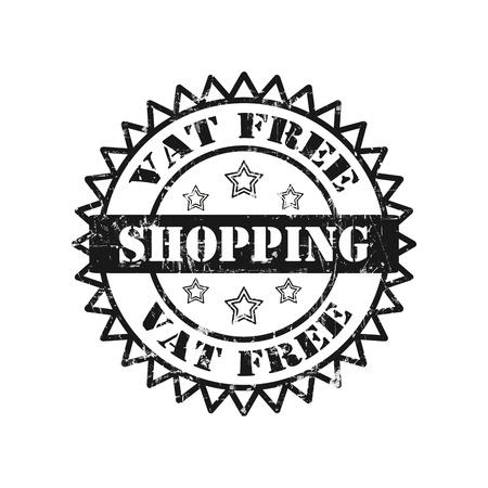 vat: Vat Free Shopping Stamp Stock Photo