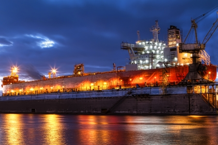 slipway: An enormous ship in a dry dock Stock Photo