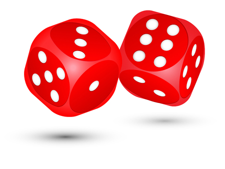 red dice: Pair of red dice on white background. Stock Photo
